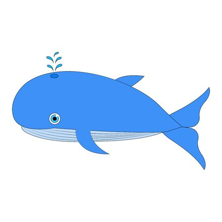 Vector illustration whale. Blue whale. Cartoon vector. isolated on white. background blue whale. Ilustração