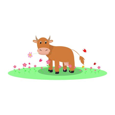 Rural farm with a cow in the meadow. Vector cartoon Spring or Summer landscape.