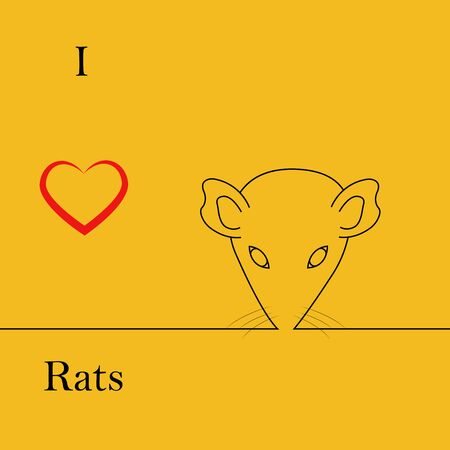 I love rats. heart black rat head. face contour vector image
