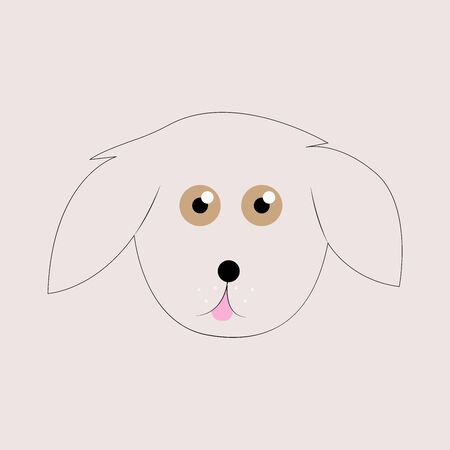 Dog sitting. Vector puppy pooch. Cute cartoon funny character. Help homeless animal concept. background Isolated. Illustration