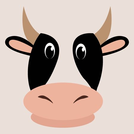 Cow Cartoon style. Vector illustration Colorful and funny composition.