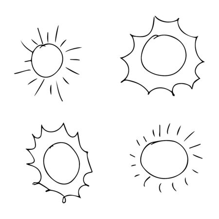 Doodle de colección de sol. Símbolos de la salida del sol amarillo naturaleza vector icono estilizado del sol. Ilustración de vector