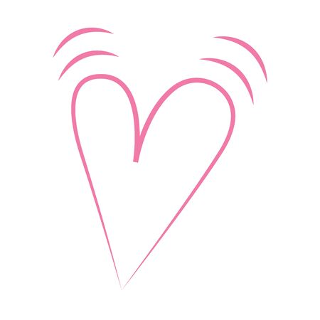 Vector heart of outline hand drawn heart icon. Illustration for your graphic design. Illustration