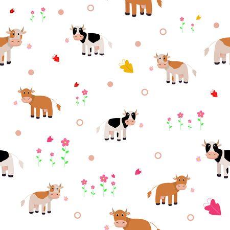 Patrones sin fisuras con linda vaca. Imprimir para bebé. Impresión vectorial con vaca bebé.
