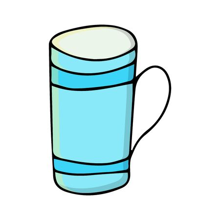 colored cup. coffee mug. vector cartoon illustrations