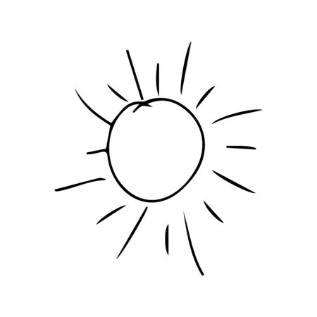 Sun collection doodle. Yellow sunrise symbols nature vector stylized icon of sun.