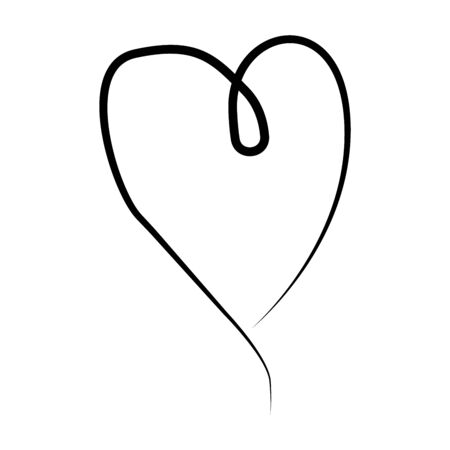 Vector heart collection. Set of outline hand drawn heart icon. Illustration for your graphic design.