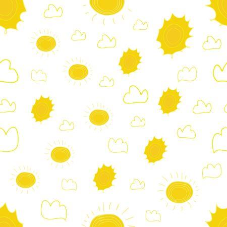 sun seamless pattern vector. Cartoon seamless pattern with sun. Cute vector colorful seamless pattern.