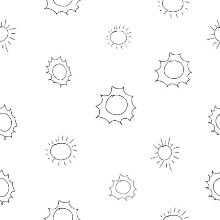sun seamless pattern vector. Cartoon seamless pattern with sun. Cute vector colorful seamless pattern.