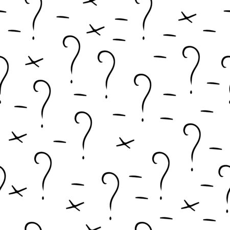 Question mark vector seamless pattern. Hand drawn sketch. FAQ button. Asking questions. Ask for help