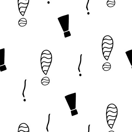 Exclamation mark seamless pattern on white background. Hand drawn vector elements.Vector sketch question marks background Illustration