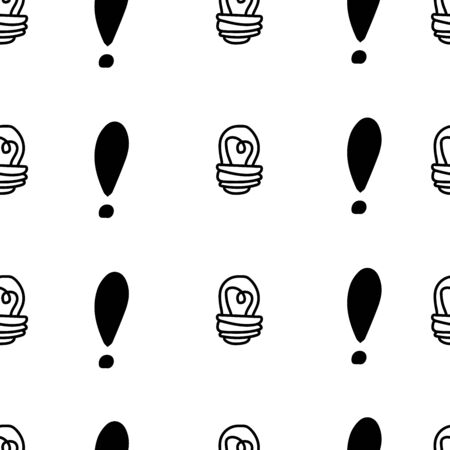 Exclamation mark and light bulb seamless pattern on white background. Hand drawn vector elements.Vector sketch question marks background
