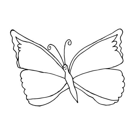 Butterfly design doodle vector icon. Beautiful Butterfly Vector isolated on white background.