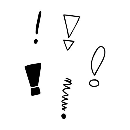 Vector illustration Hand drawn question mark and exclamation point. Question mark and exclamation point isolated on white.
