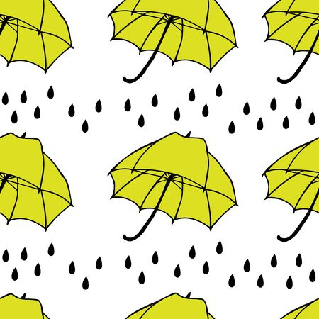 Umbrella with rain Vector Seamless Pattern. Background for textiles, cards, manufacturing, wallpapers, print, gift wrap and scrapbooking.