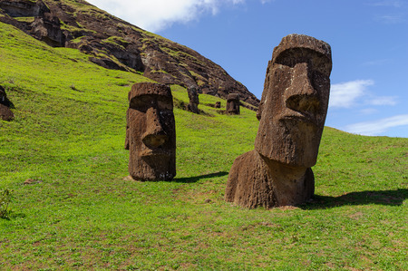 South America. Easter Island. Mountains. Statues.