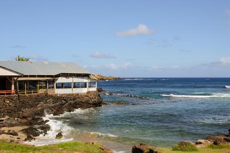 moai.South America Easter Island. Ocean