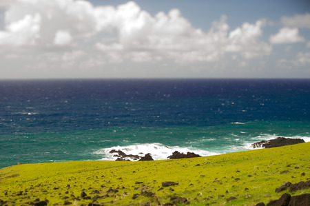 moai South America Easter Island. Ocean photo
