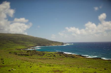 moai: moai Sur Isla de Pascua Latina. Oc�ano Foto de archivo
