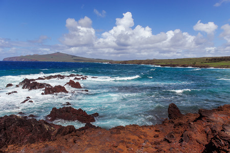 moai South America Easter Island. Ocean