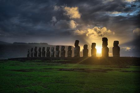 easter island: moai. Easter Island Mountains Statues. Ocean.