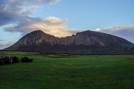 moai. Easter Island.Mountains Statues. Ocean.