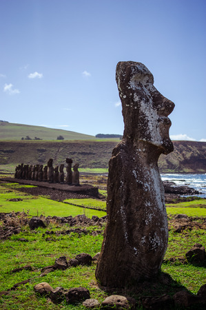South America Easter Island Mountains. Statues.