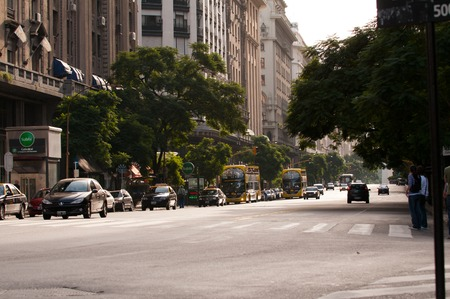 Spring in Buenos Aires, a city street with a highway. Stock Photo