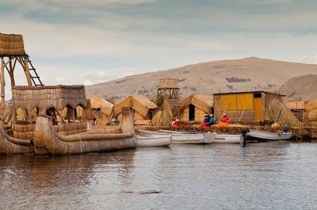 peruvian ethnicity: Floating islands of Lake Titicaca. South America