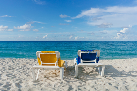 cana: The most beautiful species in the Atlantic Ocean and beach with umbrellas in the resort of Varadero, Cuba