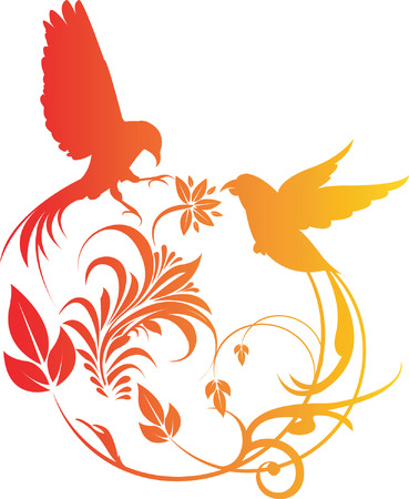 flora vector: Illustration of two birds decorated   Illustration