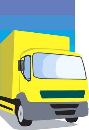 removal van: Illustration of a yellow delivery van  Stock Photo