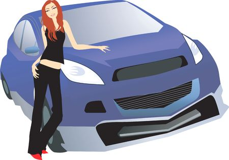 Illustration of silhouette of a lady standing near a car Stock Illustration - 2879459