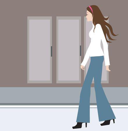 Illustration of female walking in street Stock Illustration - 2879442