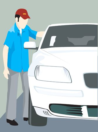 motorised: Illustration of a male standing near car