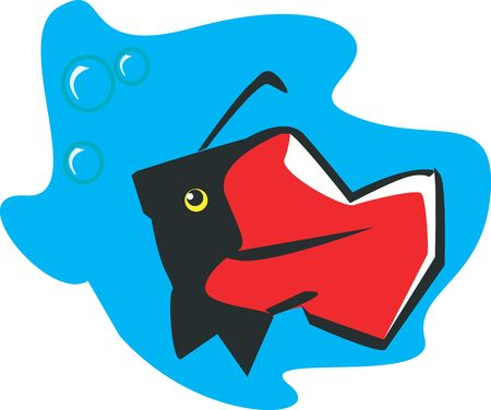 Illustration of a Red fish bubbling in the water  illustration