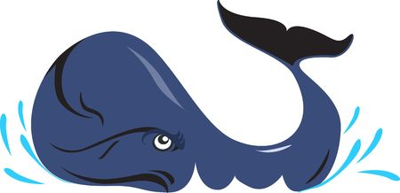 Illustration of a Blue whale coming curious to the surface with tail up  illustration