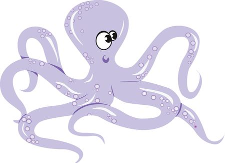 Illustration of an octopus crawling beyond white surface  illustration