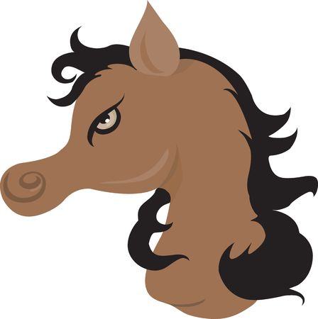 spirited: Illustration of a muscular horse with black hair in light back ground