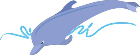 watery: Illustration of a blue dolphin diving in the waves