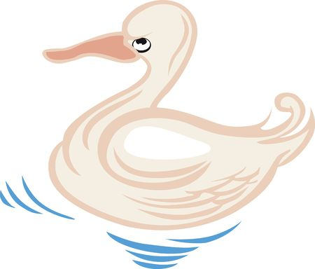 hatchling: Illustration of a duck swimming in the water