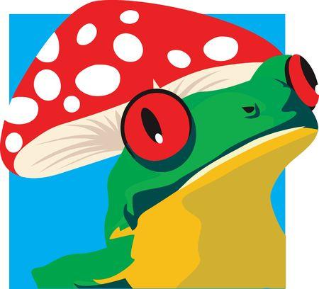 croaking: Illustration of a green frog sitting under  red coloured mushroom