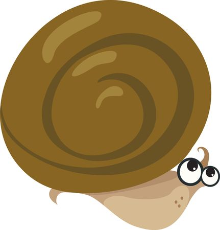 eyes wide open: Illustration of a snail moving with eyes wide open