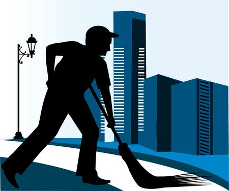 citylife: Illustration of a silhouette of a man cleaning the road  Stock Photo