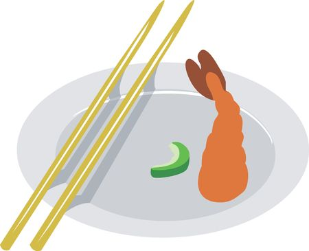 commercial kitchen: Illustration of shrimp with chopstick in a plate Stock Photo