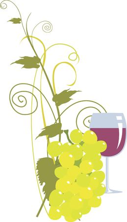 Illustration of bunch of grape and an half filled goblet of wine