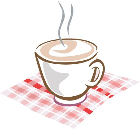 Illustration of a cup of coffee in a table cloth  Stock Photo