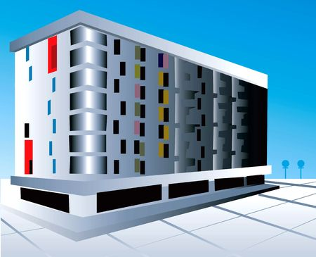 multi storey: Illustration of a multi storey building with floor