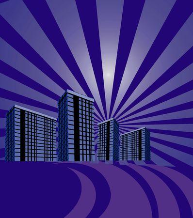 multi storey: Illustration of multi storey building in radiant blue beam