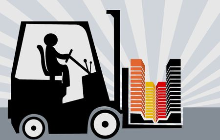 Illustration of a fork lifter driving with building block  Stock Photo